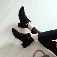 短靴女秋冬新款裸靴平底及踝靴加绒马丁靴粗跟尖头平跟女靴子