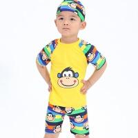 男童分体游泳衣儿童卡通连体泳衣系绳子男孩带泳帽泳装套装