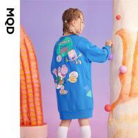 【2件3折后价:168】MQD童装女童卡通卫衣连衣裙21秋装新款儿童休闲圆领连衣裙韩版潮