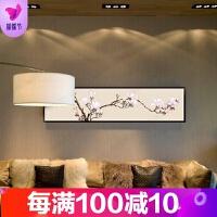 有框画装饰画客厅卧室背景墙壁单幅花卉现代简约走廊挂画布面油画 玉兰花