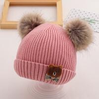 宝宝帽子女秋冬季婴儿可爱0-6-12个月女宝宝1岁冬天保暖毛线帽2潮 均码