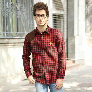 秋款长袖格子衬衫 男式绣花磨毛修身款 布兰卡红蓝格