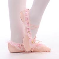 儿童舞蹈鞋芭蕾舞鞋女童蕾丝花边跳舞鞋表演软底舞鞋宝宝猫爪鞋