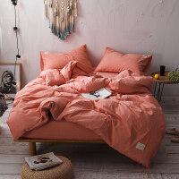 日式良品水洗棉四件套春夏裸睡素色床上被套床单床笠1.5m