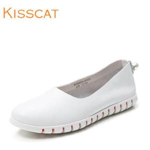 接吻猫百搭尖圆头小白鞋休闲舒适平跟DA76494-51
