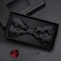 伴郎服酒红色领结韩版蝴蝶结礼盒装男士黑色格纹领结套装