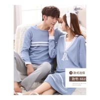 韩版情侣睡衣长袖春秋季女款睡裙家居服男士套装 2套价(66190) 主款