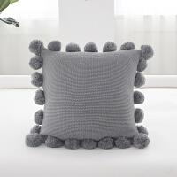 纯色球球大抱枕 北欧ins风格靠枕毛线创意家居沙发靠垫套