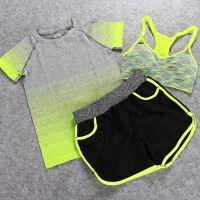 夏季运动健身套装女 跑步瑜伽服三件套户外排汗速干衣短裤