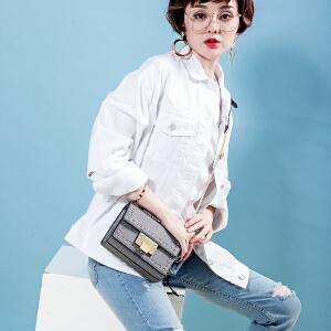 toutou2017秋冬新款韩版个性时尚铆钉小方包chic链条包单肩斜挎包