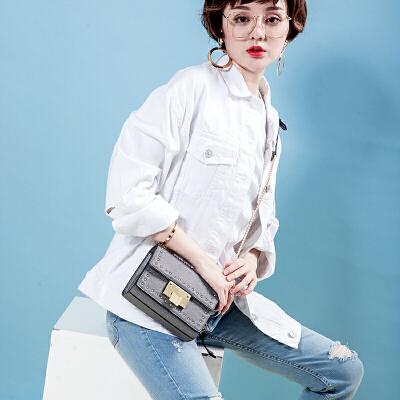 toutou2017秋冬新款韩版个性时尚铆钉小方包chic链条包单肩斜挎包英伦范铆钉小方包