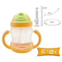 W 宝宝水杯儿童吸管杯带手柄婴儿学饮杯漏小孩喝水杯子婴儿吸水杯q1