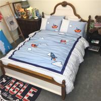 纯棉斜纹男孩儿童四件套三全棉卡通床上用品被套床单可订上下床笠纯棉带床裙的床单四件套被子一套男寝室棉被 灰蓝色