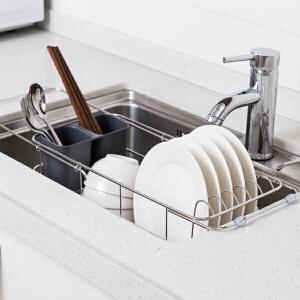 【满减】ORZ 304不锈钢伸缩沥水架连筷子筒 厨房多用途餐具架
