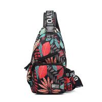 印花潮流胸包腰挂包男士单肩包斜挎小背包帆布韩版运动学生dw 叶子-黑红调