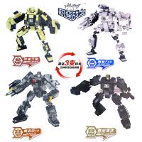 欢乐童年星钻积木积变战士3变新款机器人套装 塑料拼装拼插益智儿童玩具