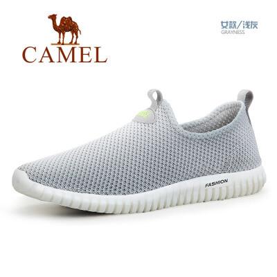 骆驼牌 户外 男女款徒步休闲鞋情侣款低帮减震透气休闲步行网鞋