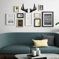 客厅餐厅组合挂墙装饰画玄关北欧风格创意挂画墙面黑白有框墙画 122*62