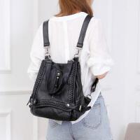 韩版女包铆钉双肩包女时尚百搭女包妈咪包单肩包背包两用 黑色 1093小号