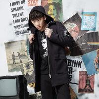 美特斯邦威连帽卫衣男士春秋装黑色中长款开衫外套简约韩版青年