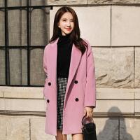 2018冬季新款中长款韩版时尚毛呢外套女皮粉色呢子大衣女
