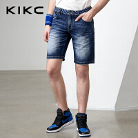kikc男装牛仔五分裤2018夏季新款纯棉休闲无弹修身水洗牛仔短裤男