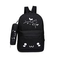 送笔袋可爱表情帆布包小学生男双肩包女孩子旅行背包初中学生书包 买买买黑色