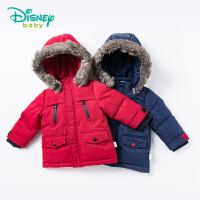 迪士尼Disney童装儿童棉衣秋冬新款男宝宝前开连帽棉袄可拆卸保暖外套174S980