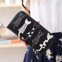 钱包女长款女士钱包日韩版可爱卡通五只猫咪学生拉链潮零钱包钱夹