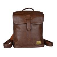 韩版时尚潮流皮包双肩包男士休闲旅行包小背包女包学院风学生书包SN7904 浅棕色 皮包