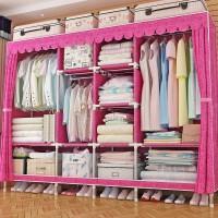 衣柜简易布衣柜钢管加粗加固加厚双人挂衣柜布艺全钢架出租房家用