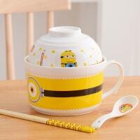 有盖卡通碗早餐情侣款成套餐具小黄人陶瓷碗饭碗办公室盖子一对