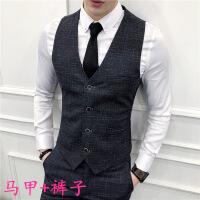绅士时尚韩版细格子马甲休闲西裤两件套装男士修身加大码伴郎礼服