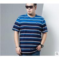 拼色时尚男士撞色宽松潮t恤衫圆领半袖条纹短袖T恤加肥加大胖子大码男装