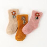 3双秋冬加厚款宝宝6-12个月新生儿男女宝宝袜子婴儿袜子松口 太阳花款 3双装