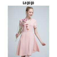 【年终狂欢节两件两折/叠满200-10优惠券】Lagogo2019年夏季新款女装粉色圆领花边连衣裙雪纺短袖高腰短裙HA