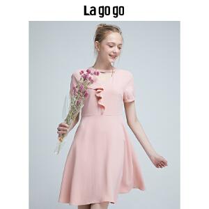 Lagogo2018年夏季新款女装粉色圆领花边连衣裙雪纺短袖高腰短裙HALL334M45