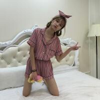 春夏韩版条纹短袖睡衣+短裤套装百搭女士家居服学生休闲两件套潮