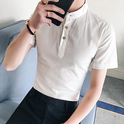 男士夏季短袖衬衫潮流气质纯色休闲韩版修身立领衬衣潮52