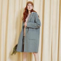 【1件2.5折到手价:174.8】美特斯邦威羊毛呢子大衣女双面呢外套学生森系保暖宽松冬新款