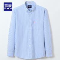 【618狂欢1折起】罗蒙(ROMON)牛津纺时尚休闲纯棉衬衫2021春季新款中青年长袖衬衣男