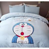 送抱枕卡通多啦A梦刺绣花水洗棉四件套全棉床品机器猫被套床单1.8 浅蓝色 多啦送一个抱枕