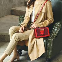 明星同款包包宽肩带女包翻毛皮插扣小方包真皮小包女单肩斜挎包SN4104 红色