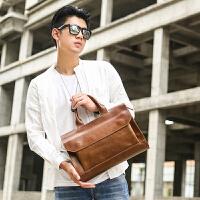 复古男士手提包 横款公文包韩版商务单肩斜挎包潮包