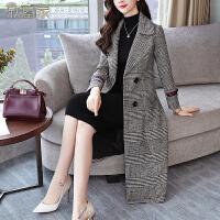 秋冬新款韩版修身显瘦子呢子大衣女中长款双排扣羊毛呢外套