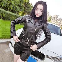 春装新款韩版修身显瘦短款机车小外套皮衣女百搭长袖PU皮夹克上衣