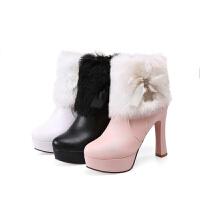 韩版高跟雪地靴女粗跟毛毛靴防水台圆头女靴子 秋冬新款女鞋短靴