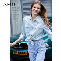 【预估价181元】Amii极简chic时尚洋气衬衫2019秋季新款珍珠装饰贴袋翻领牛仔上衣
