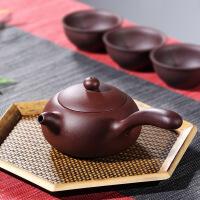 宜兴紫砂壶手工横把老紫泥卡盖九孔泡茶壶茶具唐羽壶 唐羽壶