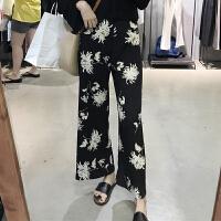 裤子女装2018春装chic复古宽松高腰显瘦阔腿裤长裤图案百搭休闲裤